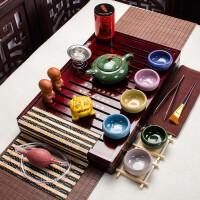 紫砂功夫茶具套装家用整套简约实木茶盘特价茶壶茶杯陶瓷冰裂 多款式选择