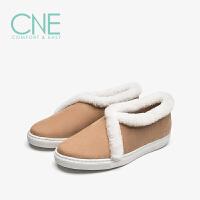 CNE秋冬新款日系风平底舒适毛毛边小棉鞋女鞋懒人鞋9T22552