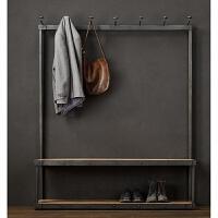 美式复古铁艺实木衣帽架鞋架落地式挂衣架挂包架服装展示架换鞋凳