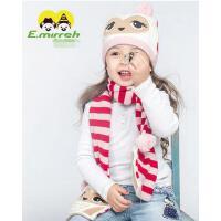 帽子围巾两件套  儿童女针织围巾帽 套头帽 儿童卡通帽子围巾两件套儿童可爱猫头鹰套装
