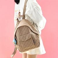 青春森系格背包书包女韩版学院风高中大学生帆布包双肩包 #0219 卡其色格小房挂件