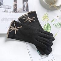 女士秋冬天加厚保暖仿羊绒薄款开车手套分指五指可触屏手套 均码