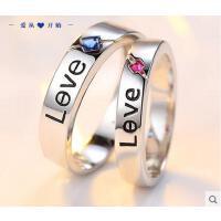 戒指 首饰 配饰 925银戒指女 时尚创意情侣戒指男女食指环尾戒一对刻字