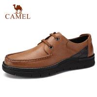 camel骆驼男鞋 秋季新品日常休闲青年牛皮鞋耐磨系带工作通勤鞋子