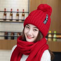 时尚帽子围巾两件套女士冬季韩版加绒加厚保暖毛线帽子女冬天青年休闲