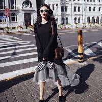 韩版网纱格子拼接卫衣裙修身拼接假两件春季打底长袖连衣裙子潮 黑色