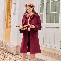 毛菇小象毛呢外套女中长款宽松冬新款时尚流行学院风红色呢子大衣