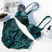 性感绸缎微聚拢深V文胸套装1/2 半杯聚拢薄款bra女士内衣胸罩
