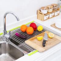 普润(PU RUN) 纳川不锈钢沥水架/置物架水槽架碗碟架可折叠厨房滴水收纳架 沥水架-绿色(50*