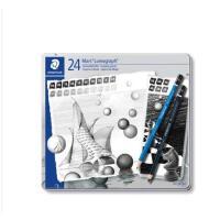 STAEDTLER施德楼100G24S 20支蓝杆+4支黑杆绘图铅笔铁盒装