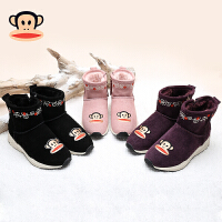 大嘴猴童鞋女童保暖靴子2017冬季鞋中大童防滑加绒短靴儿童雪地靴
