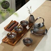 林仕屋粗陶茶具套装柴烧复古日式茶具实木茶盘干泡茶台陶土整套茶具CMZ1723