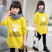 童装女童加厚卫衣中长款秋装2017新款中大童儿童加绒衫上衣韩版 中长款
