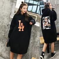 韩版孕妇装秋装加绒上衣韩版大码宽松中长款季连衣裙卫衣外套