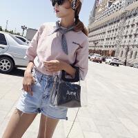 新款2018春夏韩版新款透明果冻包PVC购物袋手提包ins人气沙滩子母包女