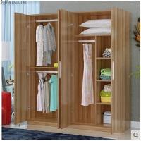 简易大衣柜板式衣柜实木质衣柜三门四门组装衣柜衣橱