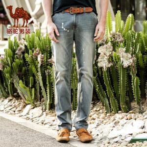 Camel/骆驼男装 夏季新款男士牛仔裤韩版直筒中腰休闲牛仔裤 潮