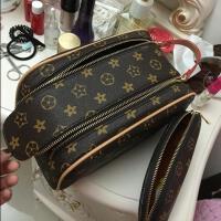 女化妆包韩国小号大容量化妆包手提防水收纳包便携随身旅行洗漱包 大号棕色两件套