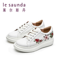 莱尔斯丹 复古国风刺绣小白鞋厚底松糕休闲鞋单鞋9T38502