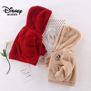 迪士尼宝宝森林探险男童针织舒棉绒连帽外套2018冬款上新