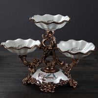 创意客厅干果盘欧式水果盘茶几摆件美式田园复古奢华家居软装饰品