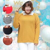 加肥加大码胖MM韩版显瘦娃娃领撞色套头长袖针织衫打底毛衣女冬季