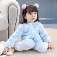 百槿 冬季儿童加绒小鸽子连体睡衣爬服 中小女童男童连体加绒爬服睡衣
