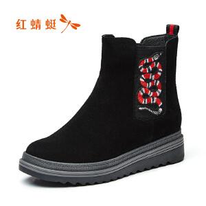红蜻蜓女鞋2017冬季新款时尚运动短靴舒适休闲平跟圆头百搭女靴