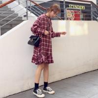 韩国ulzzang裙子女学生韩版格子长袖衬衫裙文艺复古bf宽松连衣裙