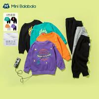 迷你巴拉巴拉儿童长袖套装2021春装新款男童长袖卫衣工装裤套装