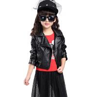 2017新款春秋装韩版中大女童皮衣机车服加厚外套PU皮短款夹克上衣