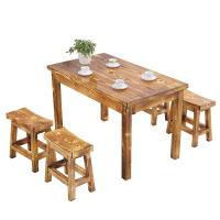 实木碳化快餐桌椅面馆小吃饭店餐厅桌椅户外火锅烧烤桌椅仿古