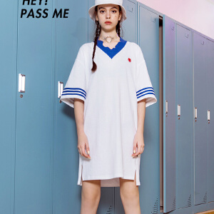 PASS潮牌2018新款夏装拼色v领t恤连衣裙女中长款ins超火裙子