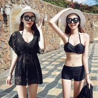 韩国分体泳衣女三件套比基尼大码遮肚显瘦小香风保守温泉游泳衣女 黑色