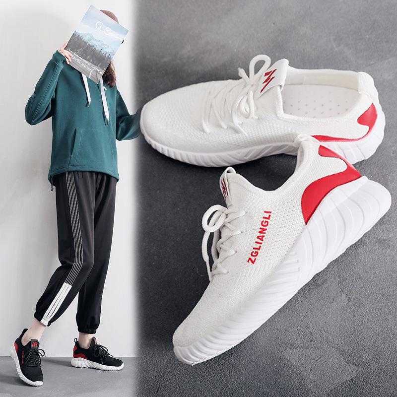 金牛骑士网面运动鞋女韩版百搭学生跑步鞋女透气飞织休闲女鞋
