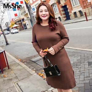 MsShe加大码女装2017新款冬装圆领H型毛衣连衣裙开叉M1740522