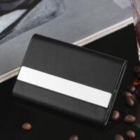 男士时尚商务名片夹男式名片盒商务男女创意卡夹刻字定制 黑色 19C