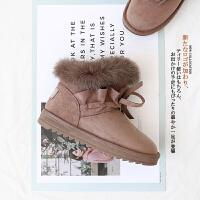 2018冬季新款雪地靴兔毛短筒韩版百搭学生皮毛一体大棉鞋短靴子女