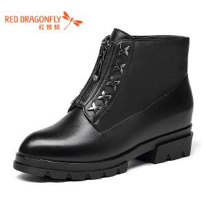 红蜻蜓女靴新款圆头粗跟真皮短靴女前拉链优雅加绒女靴子