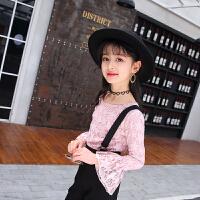儿童背带裤女童春装套装2018新款韩版洋气潮衣两件套中大童吊带裤