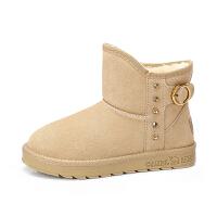 camel骆驼女鞋冬季新品时尚舒适水钻金属扣饰靴子保暖雪地靴