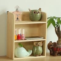 创意木质多层桌面收纳盒化妆品实木置物架收纳柜杂物办公桌面收纳 3层