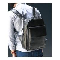 新男包韩版潮书包中学生女PU皮男士双肩包 男背包旅行包出差手提包休闲商务包 黑色