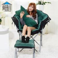 电脑躺椅创意懒人沙发单人卧室小沙发阳台折叠躺椅现代简约宿舍沙发椅 雷达椅 墨绿+搁脚+抱枕