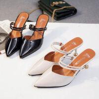 时尚外穿女士半拖鞋 新款细跟高跟凉鞋女 小清新包头女鞋两穿一鞋