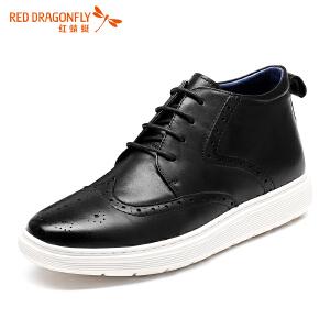 红蜻蜓男鞋 新款男士英伦风系带布洛克皮鞋休闲鞋男高帮鞋子