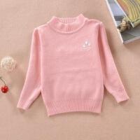 儿童毛衣男童女童针织衫毛衣棉中小童秋套头打底衫 粉红色 毛衣脚丫粉色