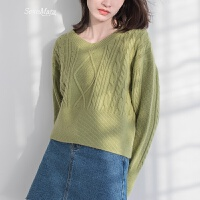 麻花v领毛衣女套头短款打底针织衫百搭春季长袖上衣韩版潮