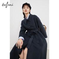 伊芙丽呢大衣女2020冬季新款韩版单排扣双面呢加厚长款保暖呢大衣