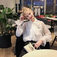 毛菇小象雪纺衫女2019早秋新款韩版宽松时尚洋气小衫超仙甜美上衣